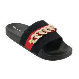 Gold Chain Bling Metallic Stripe Slides Sandals